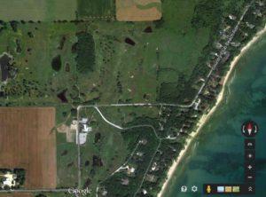 Aerial photo of coastal wetland