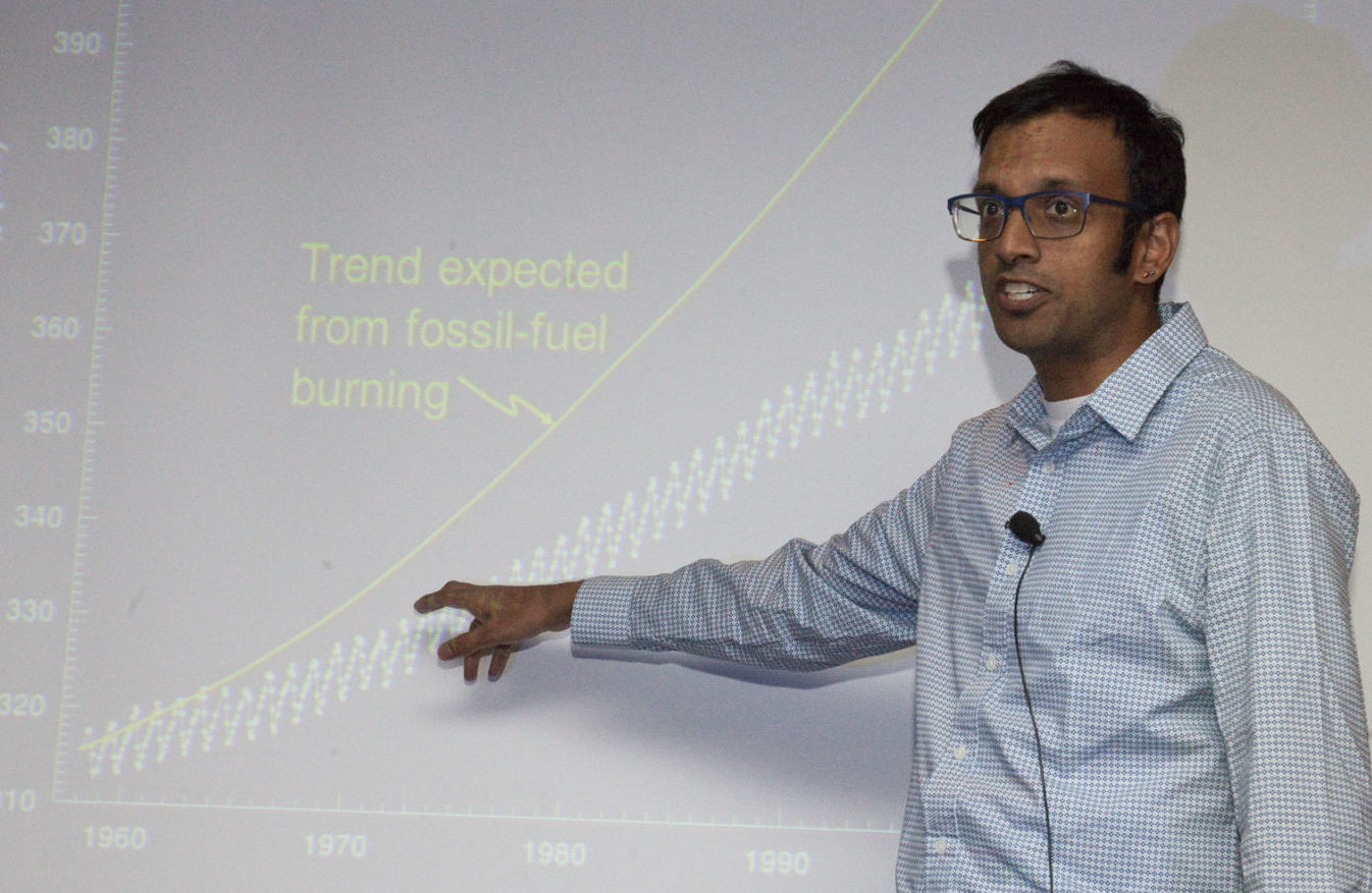 Prof. Ankur Desai gives his presentation on wetland resilience at the 2018 Wetland Science Conference.