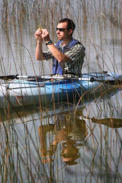 Paul Skawinski examining an aquatic plant in a kayak.
