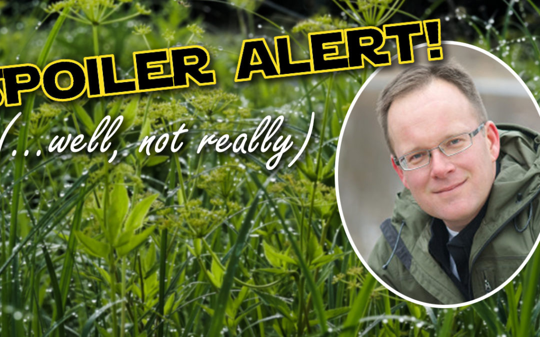 "A photo of speaker Matt Miller inset in a photo of wetland plants with the words ""Spoiler Alert! (well, not really)""."