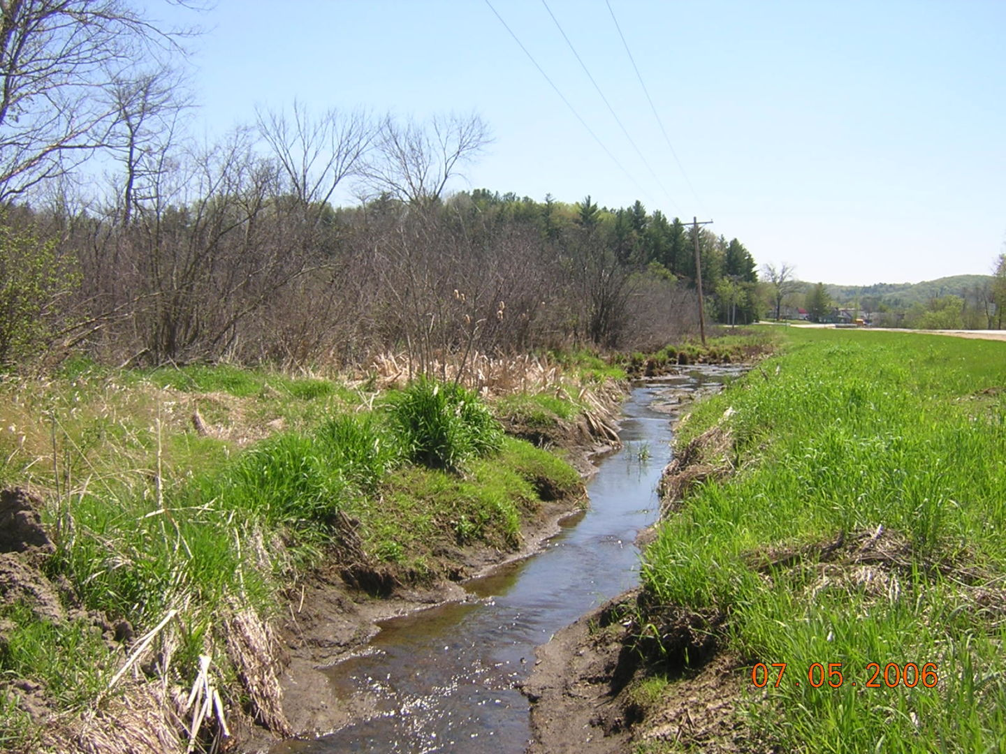 A ditch runs along the side of the road, draining the nearby wetland and altering the historic hydrology of the site.