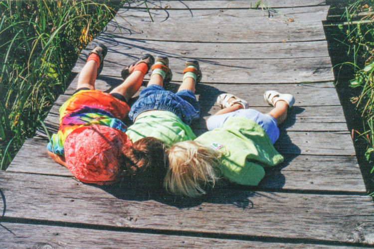 Three kids laying on a boardwalk looking through the boards at the wetland underneath.